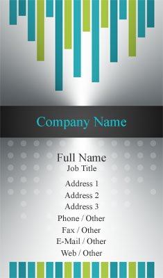 Metal, Blue and Green Business Card Template